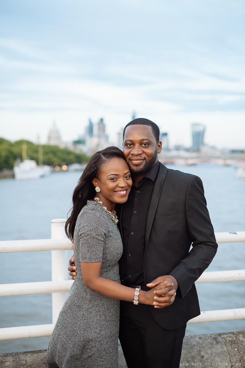 Pat & Ben's engagement shoot on Waterloo Bridge overlooking River Thames by London Wedding Photographer Ben Pipe