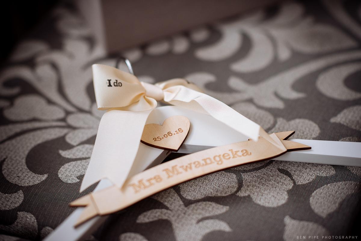 wedding preparations coat hanger