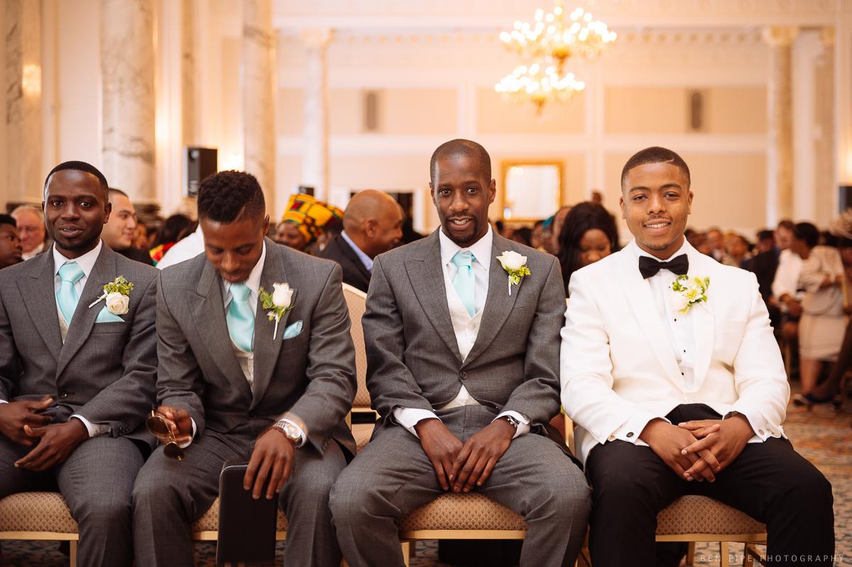 groom and groomsmen ushers waiting ceremony landmark hotel london