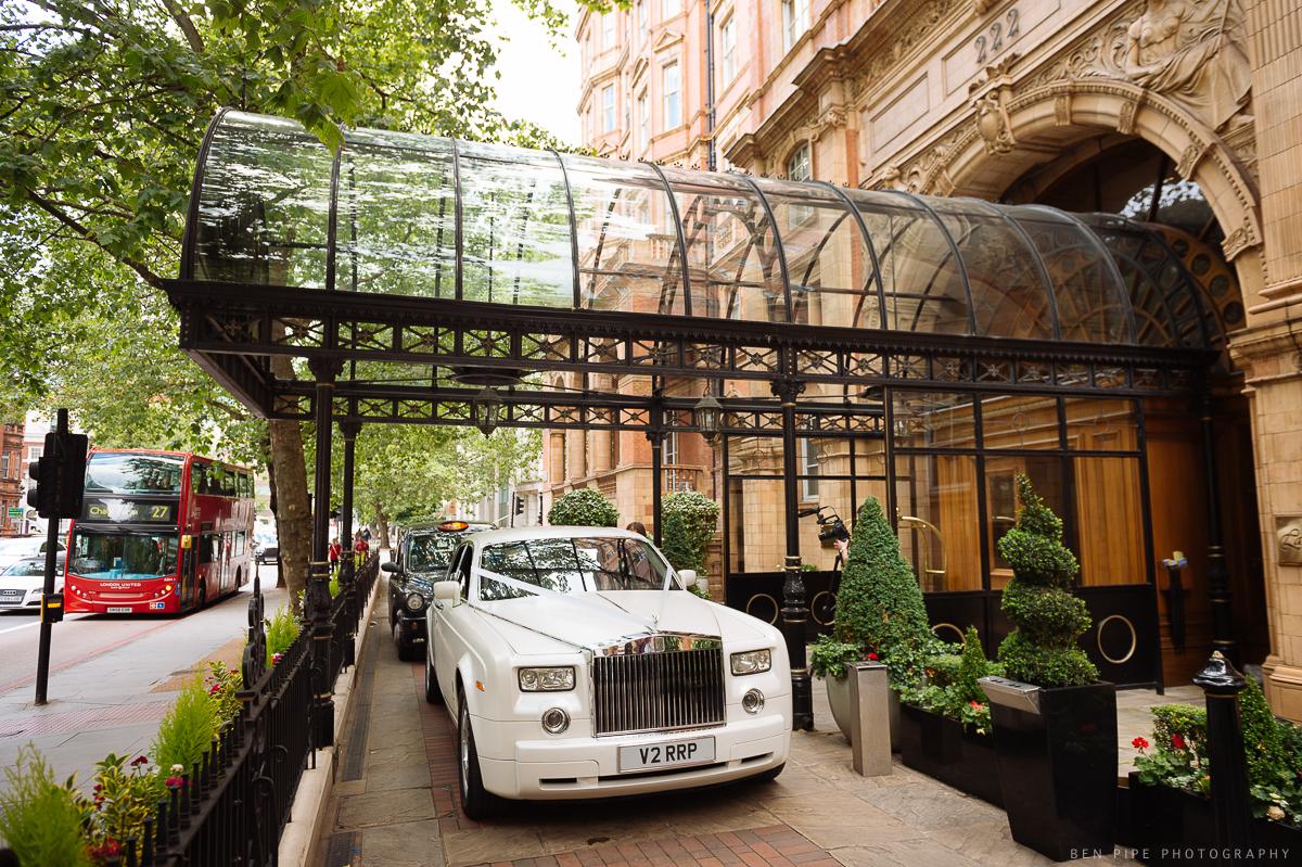rolls royce car landmark hotel london weddings exterior