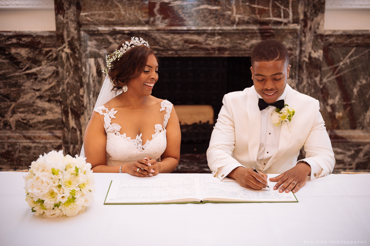 landmark hotel london wedding ceremony signing registrar kelly masaka