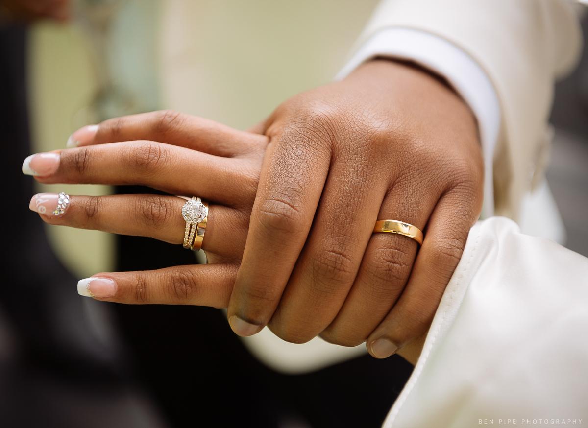 wedding rings hands detail