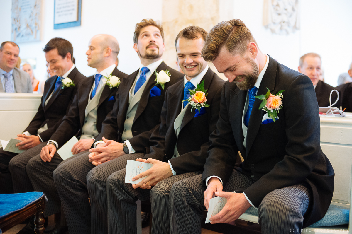 radipole church wedding photography weymouth groom and ushers nervous