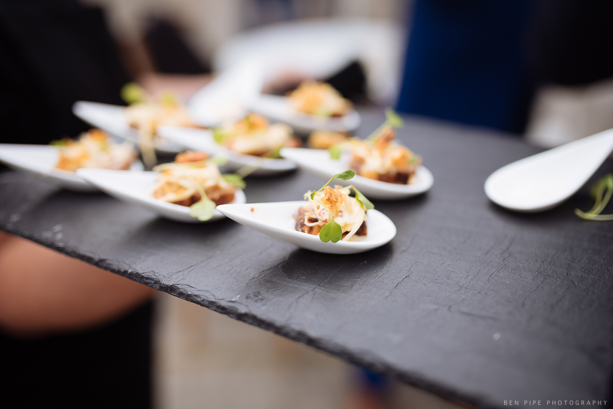 Canapes at Ruth & Arron's Wedding at Trinity Buoy Wharf, London by Ben Pipe Wedding Photography