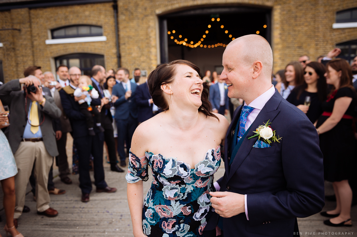 The confetti moment at Ruth & Arron's Wedding at Trinity Buoy Wharf, London by Ben Pipe Wedding Photography