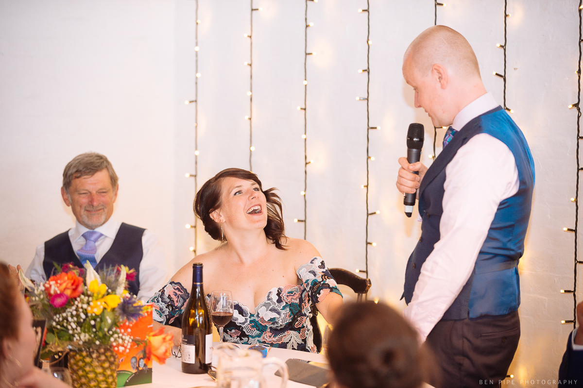 Speeches at Ruth & Arron's Wedding at Trinity Buoy Wharf, London by Ben Pipe Wedding Photography