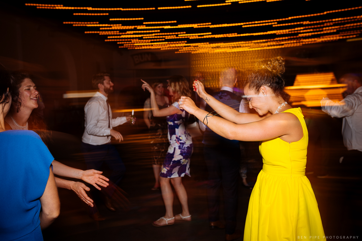 Dancefloor at Ruth & Arron's Wedding at Trinity Buoy Wharf, London by Ben Pipe Wedding Photography