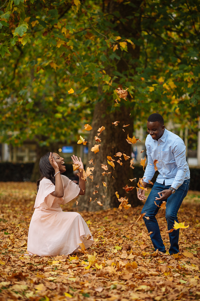 autumn leaves wedding engagement shoot in grosvenor square mayfair london
