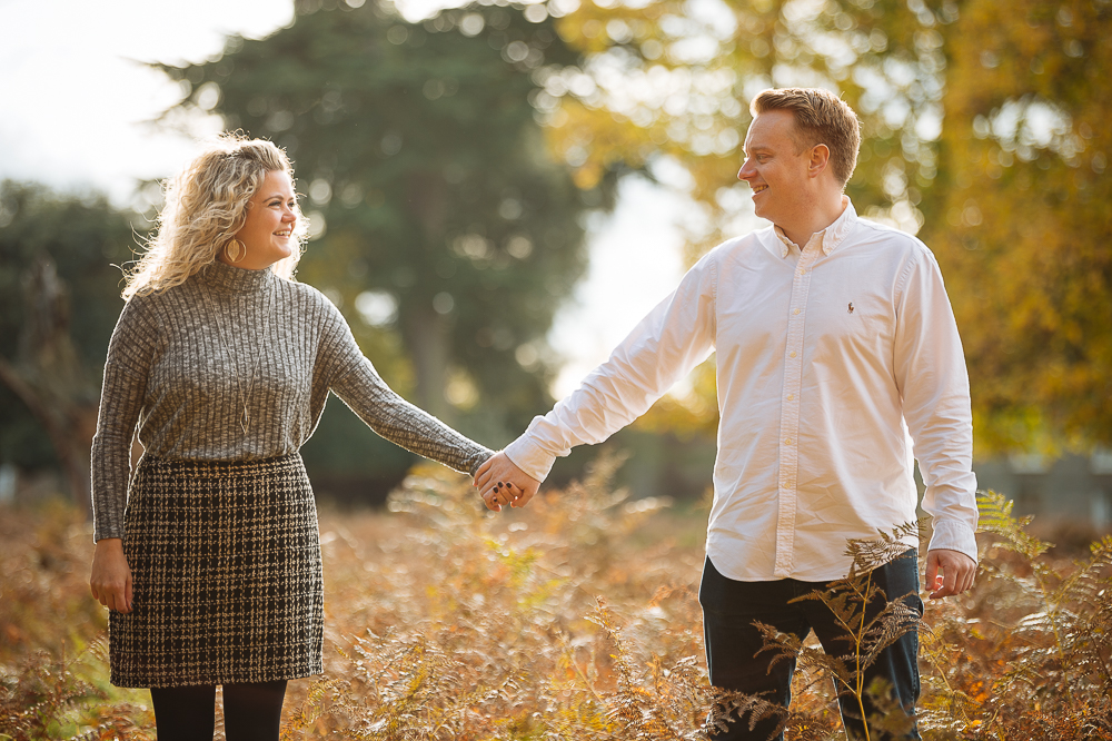 Abi + Pete's Autumn engagement shoot in Bushy Park london by Ben Pipe Wedding Photography