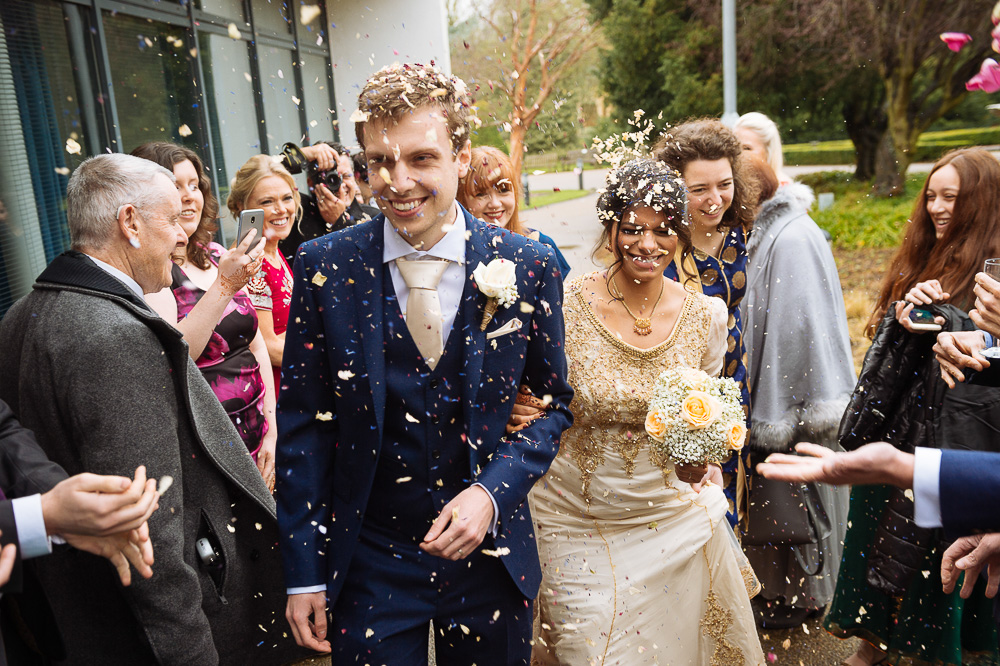 confetti for bride and groom at jephson gardens wedding reception venue warwick farah sam