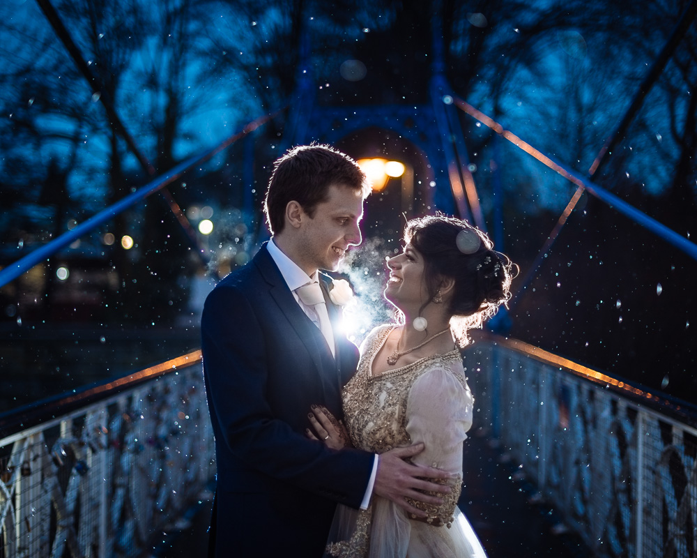 farah & sam twilight wedding photoshoot rain winter