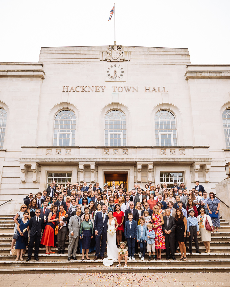DJ and Olly's Wedding group shot at Hackney Town Hall and The V & A Museum of Childhood, London by Ben Pipe Wedding Photography on 23rd June 2018