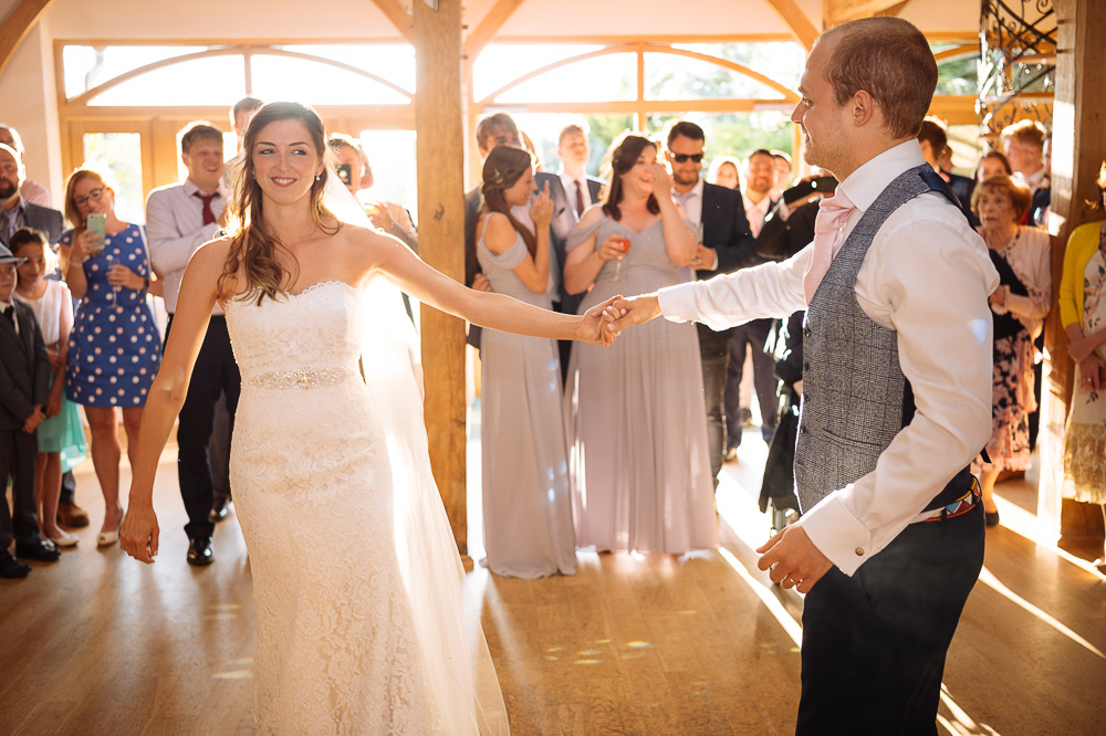 First dance at Megan and Sean's Wedding at Rivervale Barn, Yateley by Ben Pipe Wedding Photography on 31st July 2018